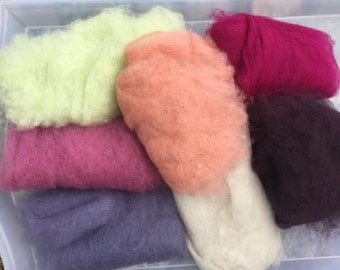 75% OFF! Wool Roving Carded Merino 7 Colors - Felting Spinning Felting Needle Felting Dry Felting Wet Felting Wool Painting 7L3