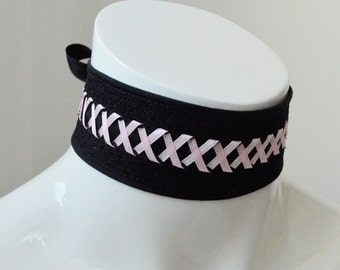 Cyber punk baby - black and light pink gothic choker with lacing - cosplay larp con - or lolita neko kitten pet play collar