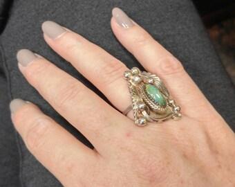 Unusual Vintage Navajo Turquoise Ring