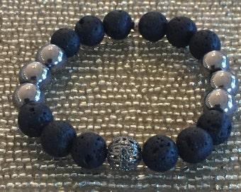 Lava Stone Beaded Essential Oil Diffuser Bracelet Hematite & Lava