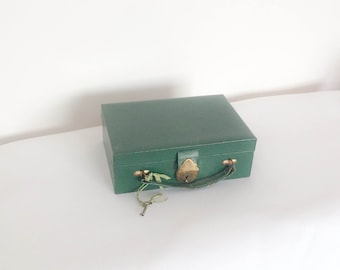 Green Jewelry Travel Case with Lock and Key Vintage