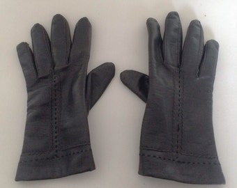 1970s Black Vinyl Gloves Vintage