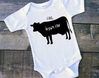 Ciao brown cow, brown cow, ciao, rhyme, rhyming shirt, animal shirt, animal rhyme, animal saying, cute animals, brown, moo, farm animal
