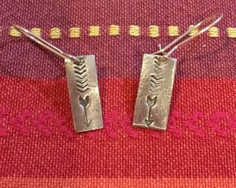 Fine silver arrow and chevron earrings