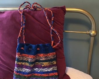 Drawstring Striped Crocheted Shoulder Bag