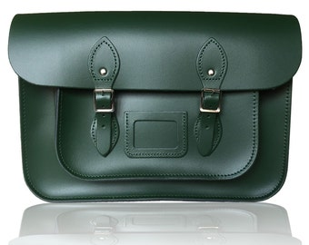 """14"""" Classic Leather Satchel 100% Real Leather - British Racing Green"""