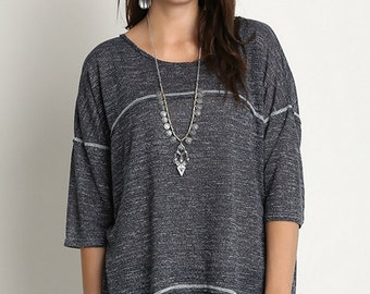 Plus Womens Relaxed Fit Square Stitching Tunic