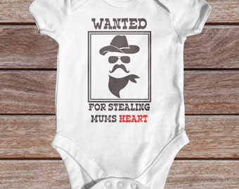 WANTED For Stealing Mums Heart baby bodysuit | Funny Baby Bodysuit | Cute Baby Clothes | Baby Shower Gift | Cowboy Baby | Wild West Baby