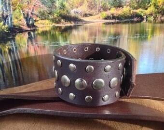 32 wide studded brown leather bracelet