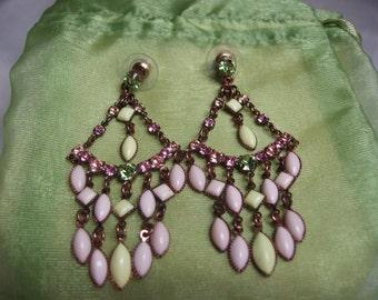 Copper and Gemstone Pastel Chandelier Earrings