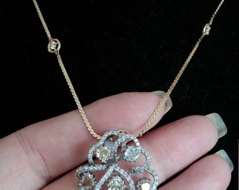 14k Gold 5ct Heart Shaped Diamond Pendant Unique One Of A Kind 9.9 Grams