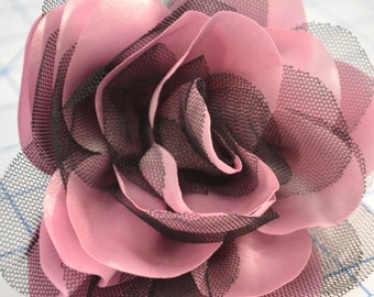 Pink and Black Satin Rose Pin