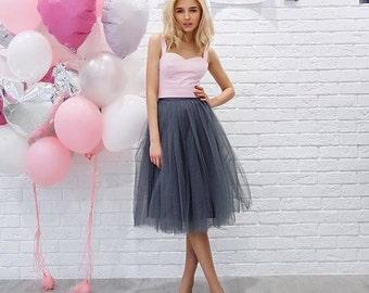 Grey Tulle Skirt Grey Tutu Grey Adult Tulle Skirt