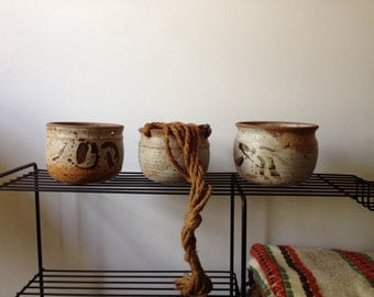 Hanging pottery planters