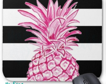 Black and White Striped Pink Pineapple Mouse pad