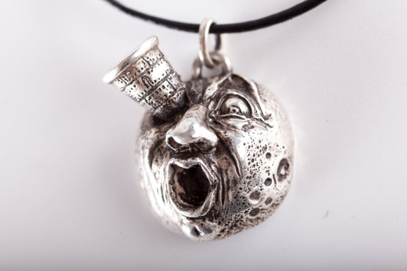 Moon pendant tribute to Jules Verne - (made in ITALY, Sterling Silver 925) design by Golinotti