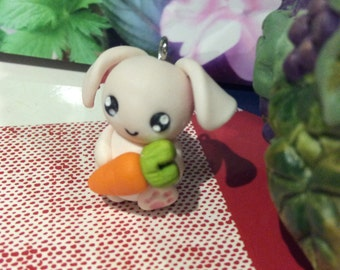 Bunny with Carrot Necklace Charm
