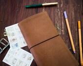 TRAVELER'S NOTEBOOK • Midori size • 4 elastics • fauxdori • bullet Journal • sketchbook • journal leather cover • planner