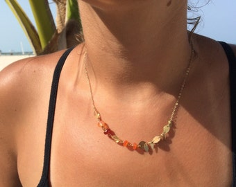 Gold Filigree Citrine Carnelian Asymetrical Necklace