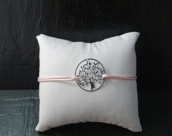 Tree of life silver bracelet and cord pink waxed polyester