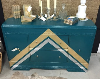 Hand Painted Emerald Green, Gold and Silver Buffet