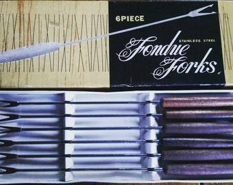 Retro Vintage 1950's Fondue Forks boxed