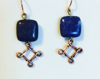 Lapis and copper filagree earrings