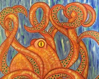 Hand painted acrylic Octopuse