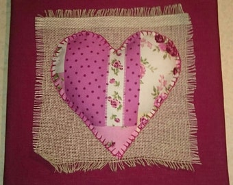 3D Fabric Heart on Canvas