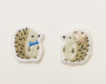hedgehog couple brooch