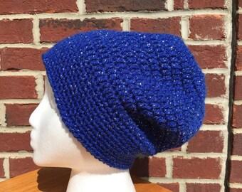 Women's crochet slouchy hat in royal blue