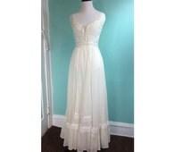 vintage hippie wedding dress - 1960s 1970s retro boho long full length cotton lace wedding gown - 60s 70s XS XXS ivory white prairie dress