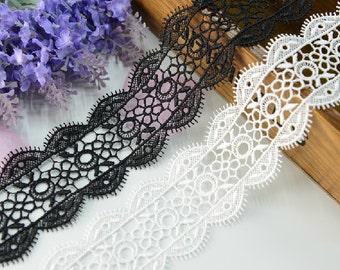 "14 yard 4.5cm 1.77"" wide black/ivory embroidery lace trim trims ribbon L22K207 free ship"