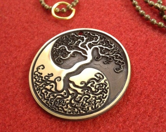 Tree Of Life Pendant, Yin Yang necklace