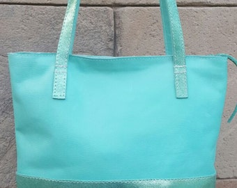 Beautiful bag in green water Pretty leather light green bag