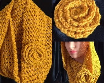 Gold Infinity Scarf with Removable gold flower pin