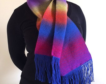 Handmade soft wool scarf in bright rainbow ombre