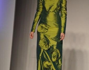 Long 100% silk dress - couture