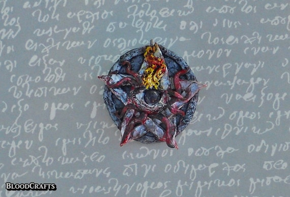 Handmade Elder Sign amethyst fire eye Lovecraft  Mythos charm necklace pendant