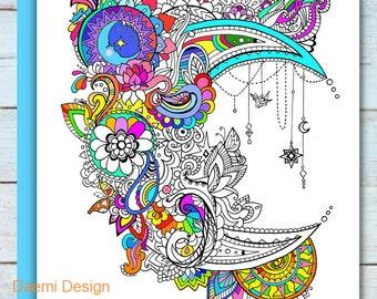 Printable Mandala Moon Coloring Page