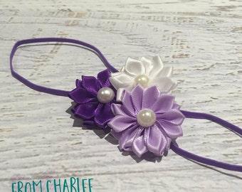 Purple, Lilac & White Headband - Handmade