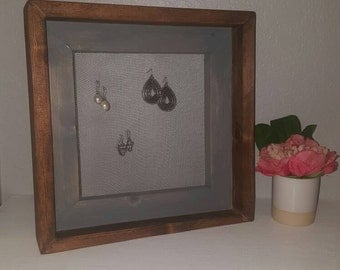 Rustic wood earring display
