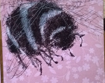 BUMBLE BEE DRAWING on pink
