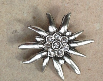Brooch Edelweiss red
