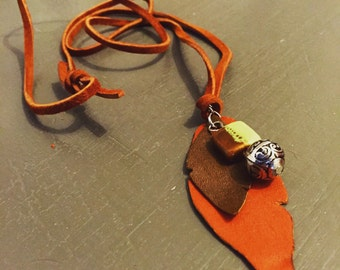 Handmade Leather and Charm Necklace