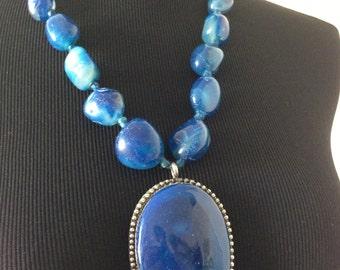 Beautiful Big Blue Stone Statement Necklace