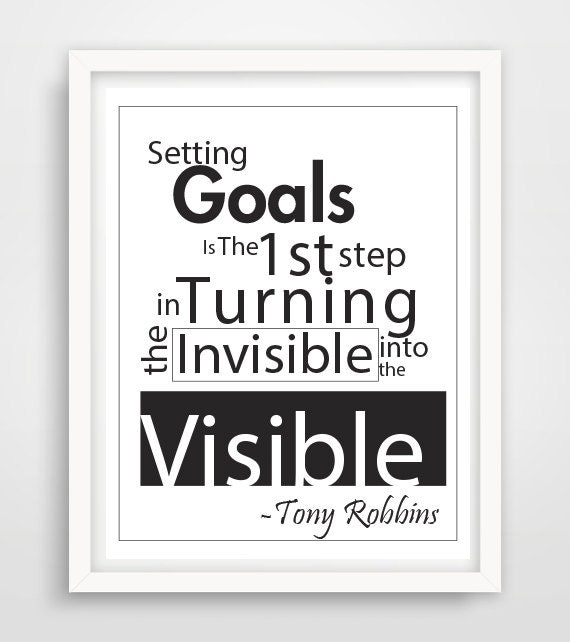 Inspirational Quotes For Goal Setting: Items Similar To Setting Goals, Tony Robbins, Quote Art