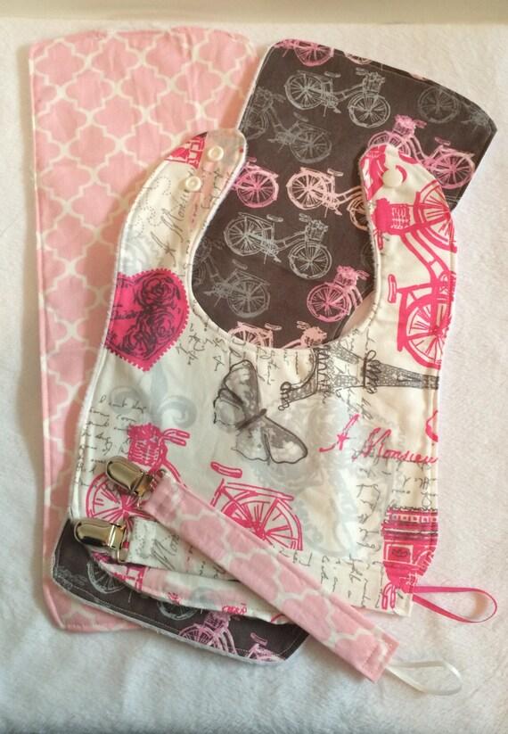 Paris themed baby gift set bib two burp cloths