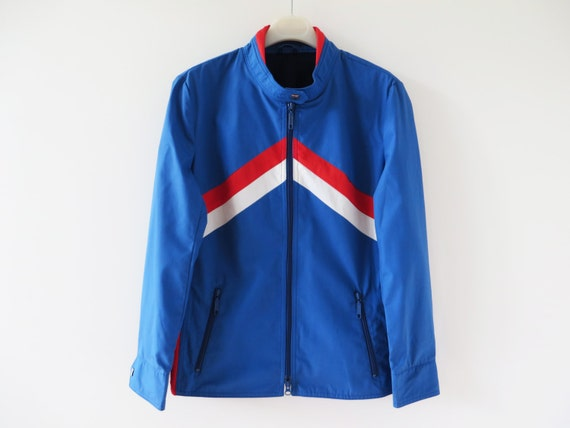 Nylon Track Jacket Vintage 80s Windbreaker Blue Hipster Jacket Turquoise Activewear Colorblock Oversized Parka Lightweight Large Size Jacket F7RY5EODC