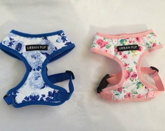 PERSONALISED Dog Harness, Pink, Blue, Small, Medium, Large, Floral Dog Harness, Stylish, Dog Accessories, Pet Gifts